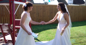 Backyard Wedding Ceremony Lesbian Couple
