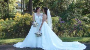 Backyard Outdoor Lesbian Wedding Couple